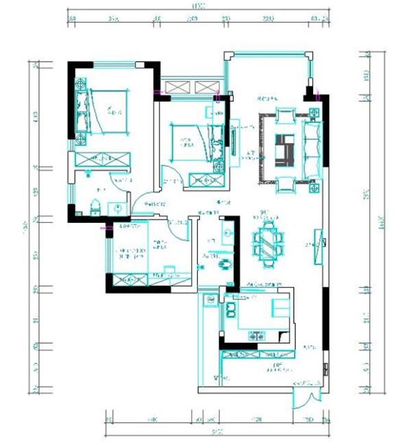 2 平面方案设计进门入户花园一很大的鞋柜到顶,三个卧房,其实一书房