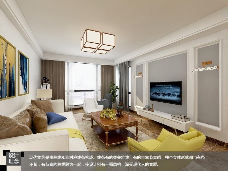 红都华庭 / 现代简约风格 / 107平米装修案例