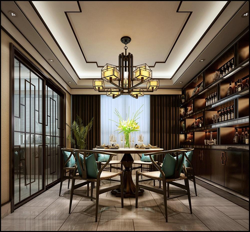 恒豪•翠谷城 / 新中式风格 / 131平米装修案例