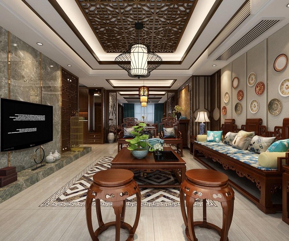 龙盛华府 / 新中式风格 / 142平米装修案例