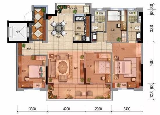 推荐一款很不错的130平四房金牌户型!